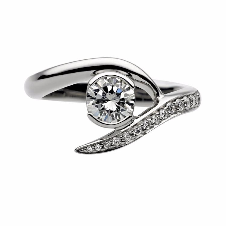 White Gold 0.50ct Interlocking Solitaire Engagement Ring