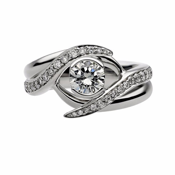 Platinum 0.50ct Interlocking Solitaire Ring Set