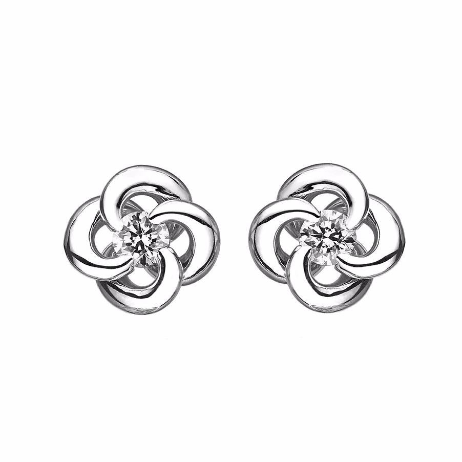White Gold and Diamond Entwined Petal Stud Earrings
