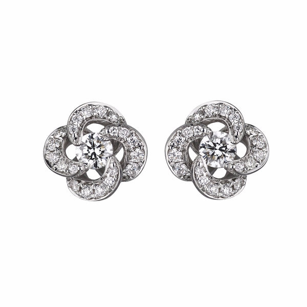 White Gold Diamond Pave Entwined Petal Stud Earrings