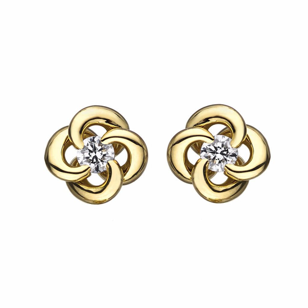 Yellow Gold and Diamond Entwined Petal Stud Earrings