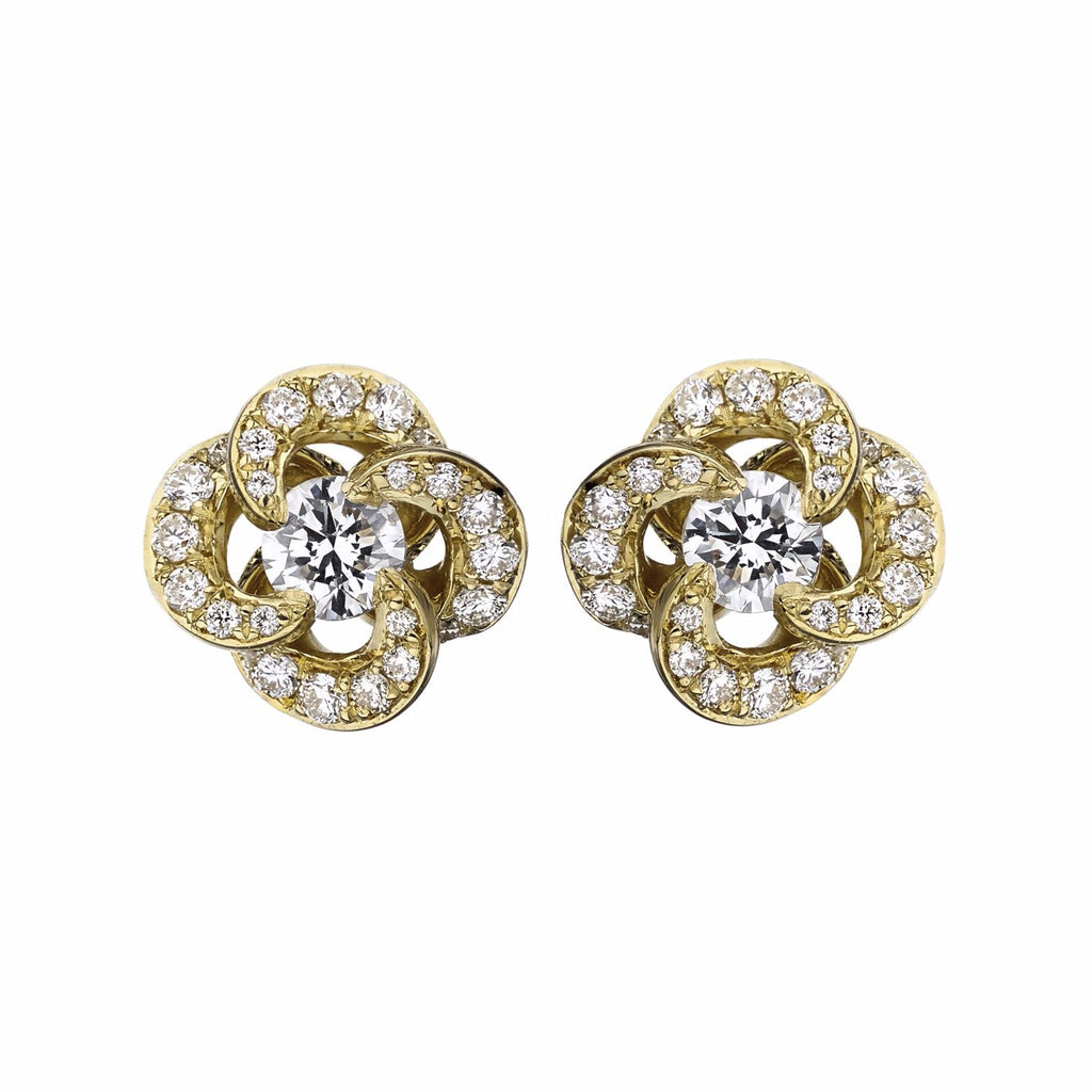 Yellow Gold Diamond Pave Entwined Petal Stud Earrings