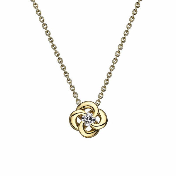 Yellow Gold and Diamond Entwined Petal Pendant