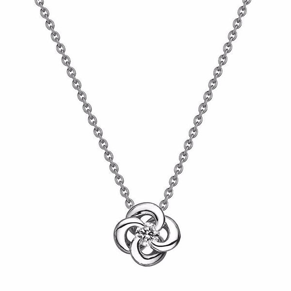 White Gold and Diamond Entwined Petal Pendant