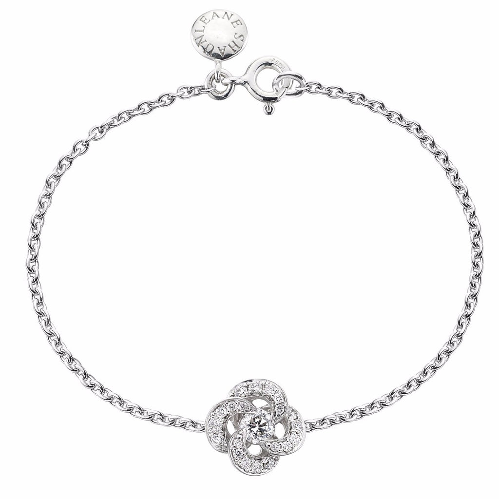 White Gold and Diamond Pave Entwined Petal Bracelet