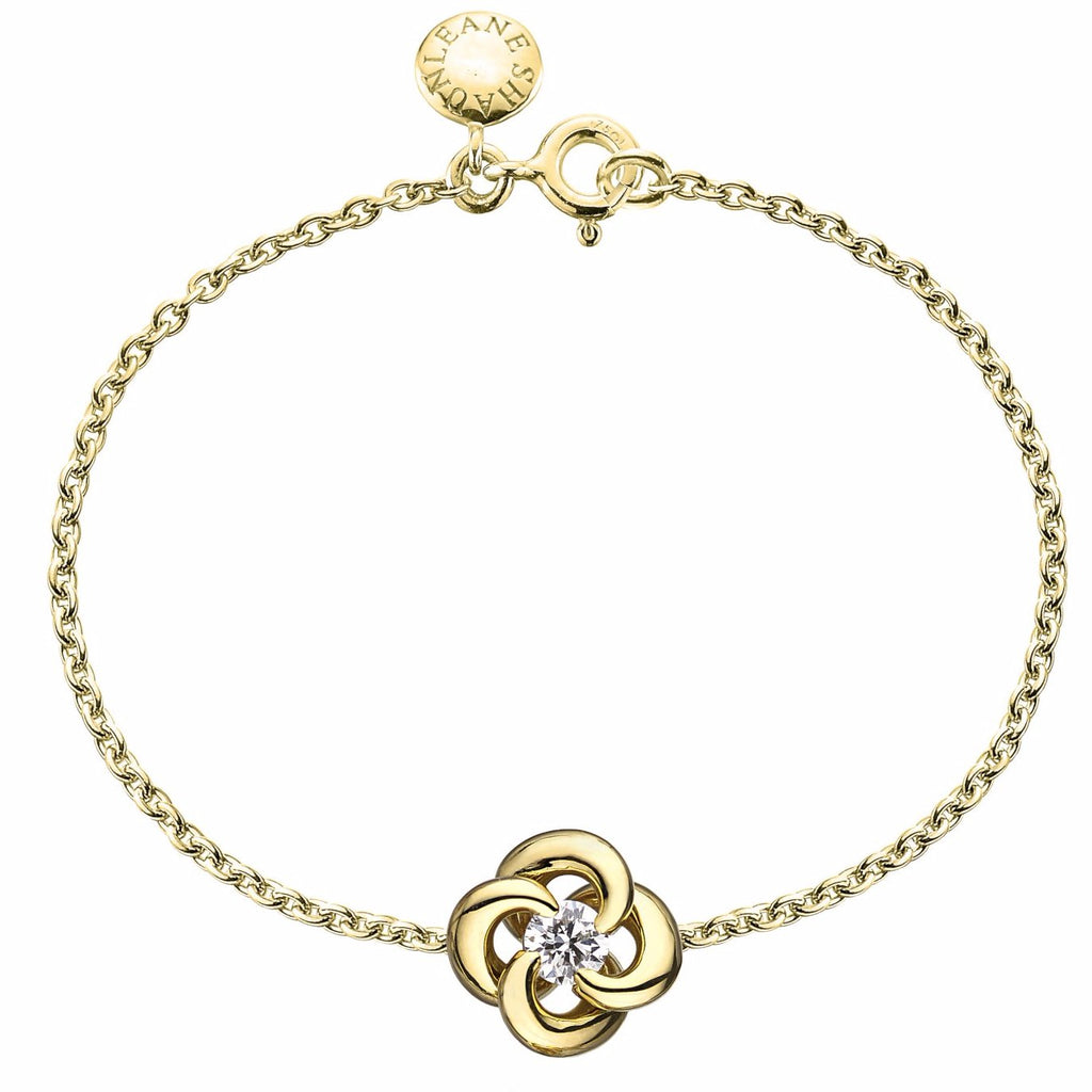 18ct Yellow Gold and 0.10ct Diamond Entwined Petal Plain Bracelet