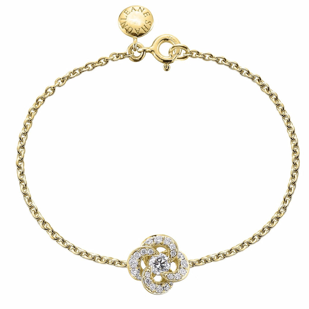 Yellow Gold and Diamond Pave Entwined Petal Bracelet