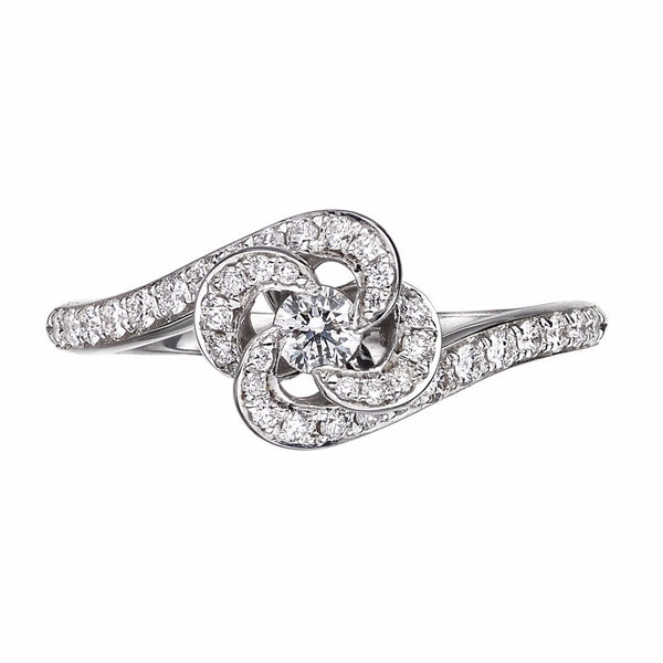 White Gold and Diamond Entwined Petal Pave Ring