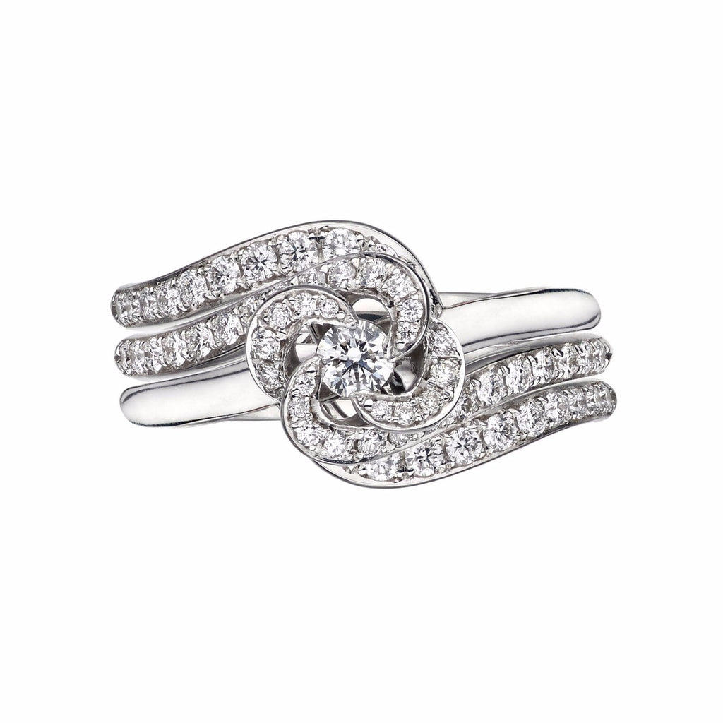 White Gold and Diamond Entwined Petal Eternity Ring Set