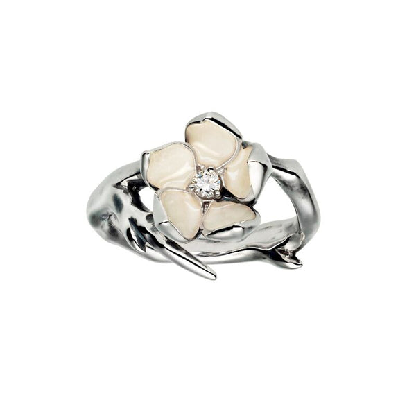 Silver and Diamond<br> Single Cherry Blossom Ring
