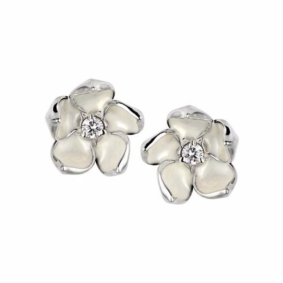 Silver and Diamond Blossom Studs