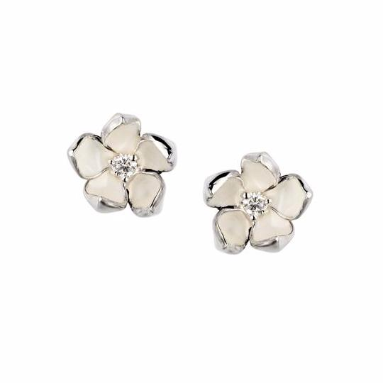 Silver and Diamond Small Blossom Studs