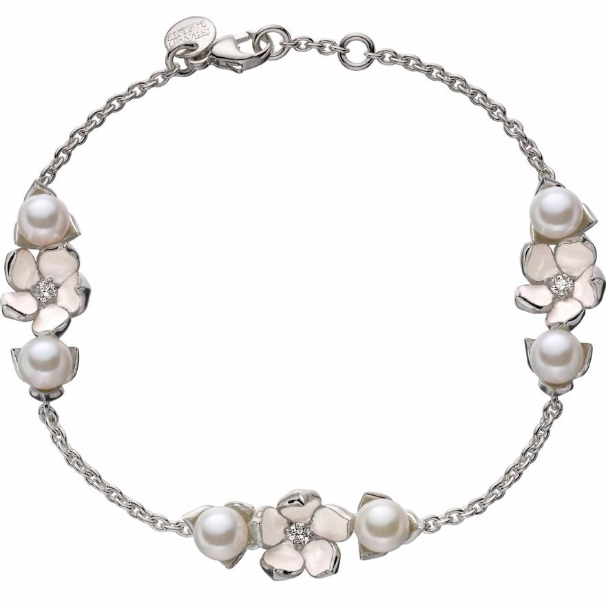 Silver Three Flower Bracelet with Diamonds and Pearls