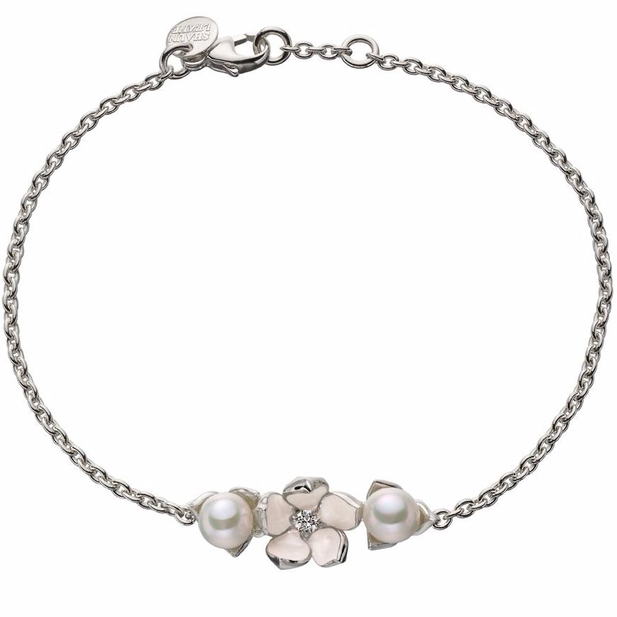 Silver Single Flower Bracelet with Diamond and Pearls