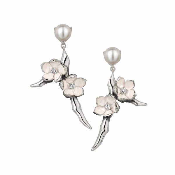 Silver Small Branch Earrings with White Diamonds and Pearls