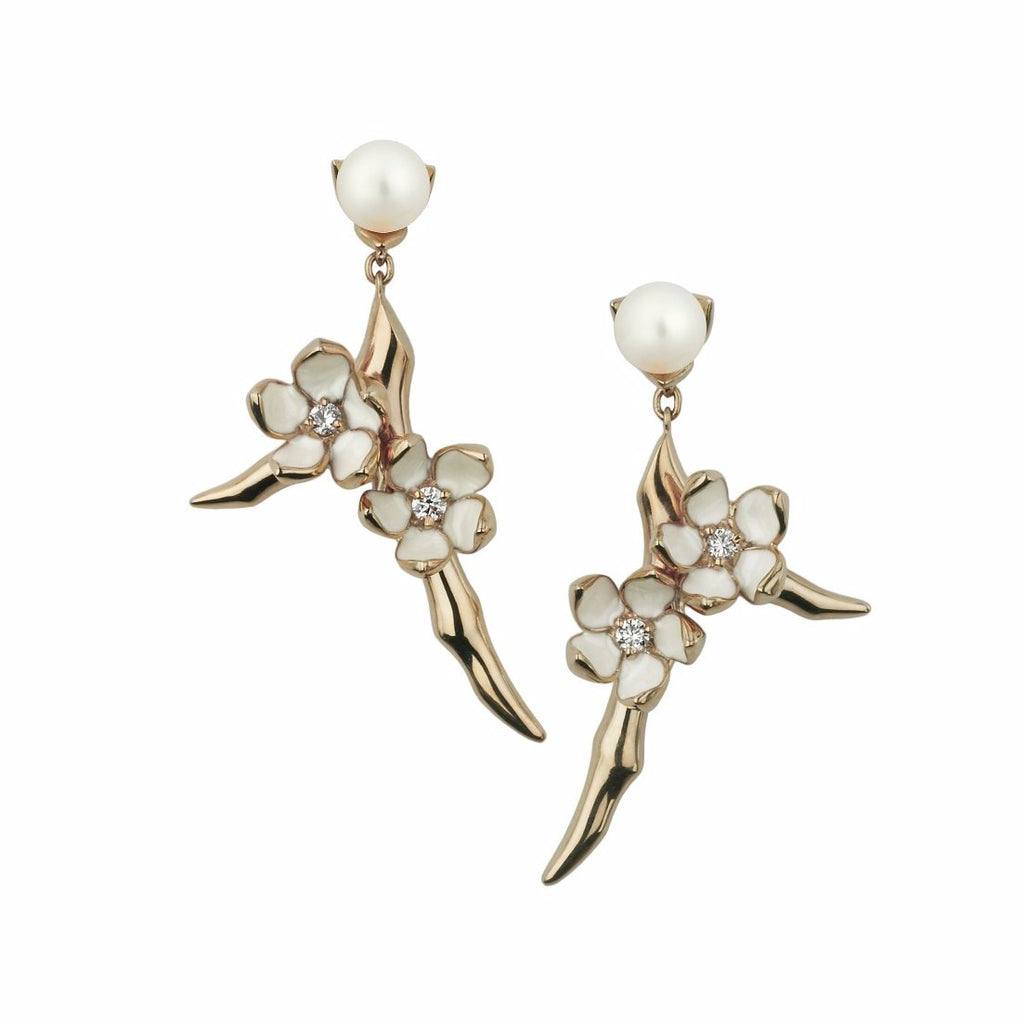 Rose Gold Vermeil Small Branch Earrings with Diamonds and Pearls