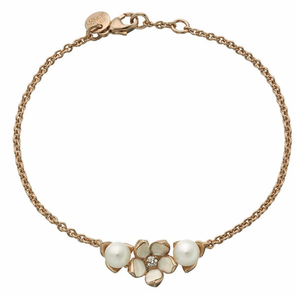Rose Gold Vermeil Single Flower Bracelet with Diamond and Pearls