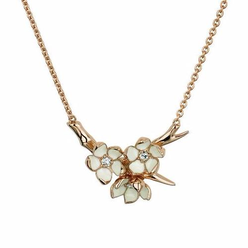 Rose Gold Vermeil Small Branch Pendant with Diamonds