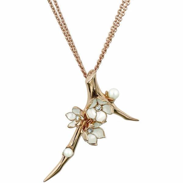 Rose Gold Vermeil Large Branch Pendant with Diamonds and Pearls