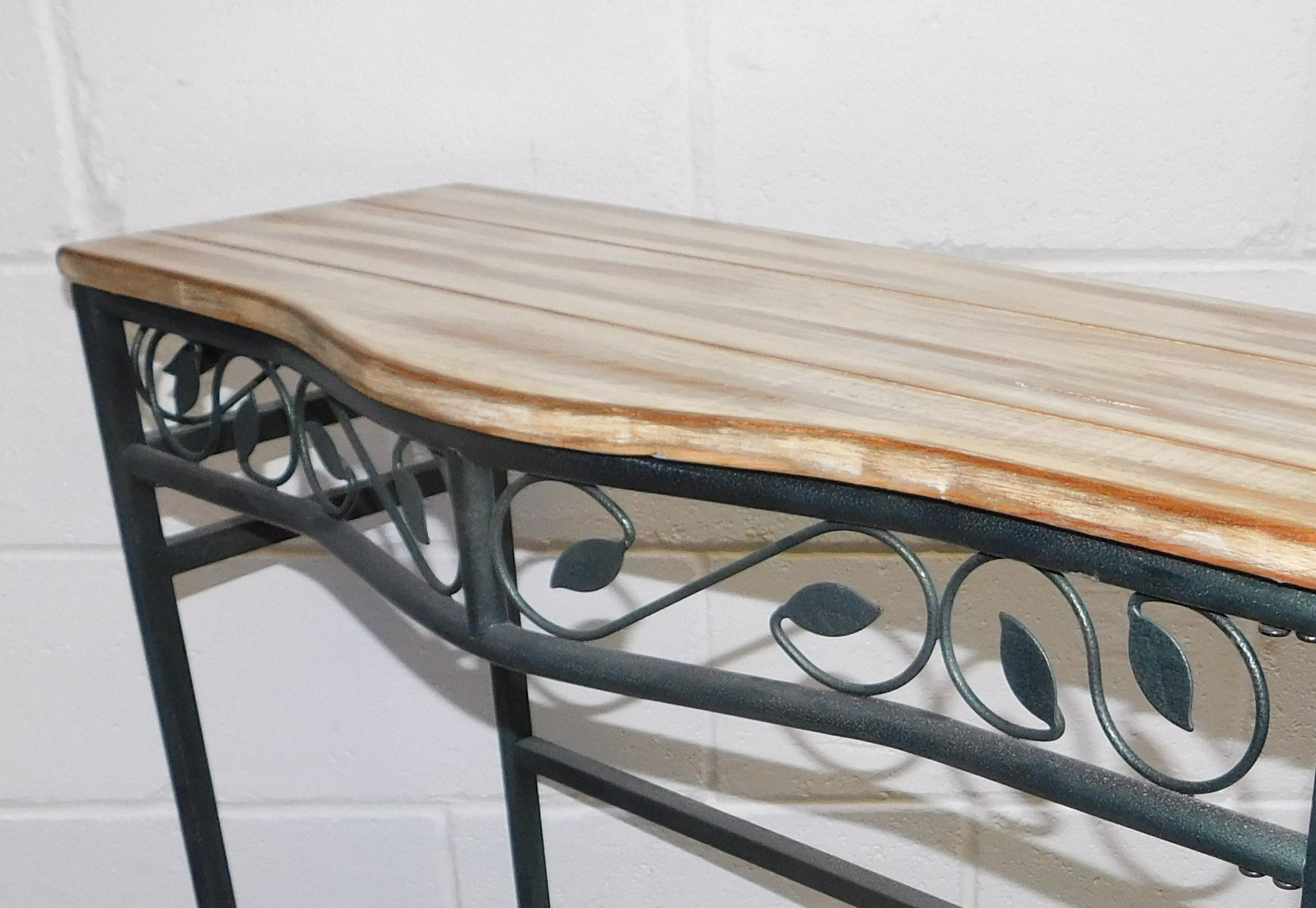 metal hall table. BESPOKE METAL HALL / CONSOLE TABLE - UP CYCLED FLOORBOARD TOP Metal Hall Table