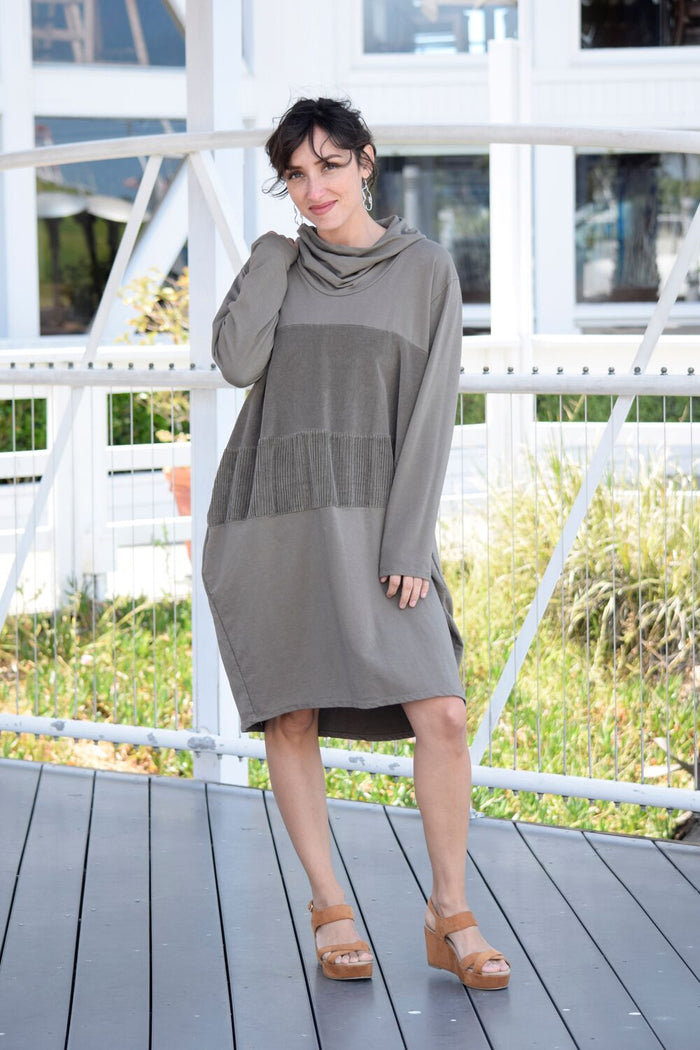 Cowl Neck Dress with Corduroy Accent