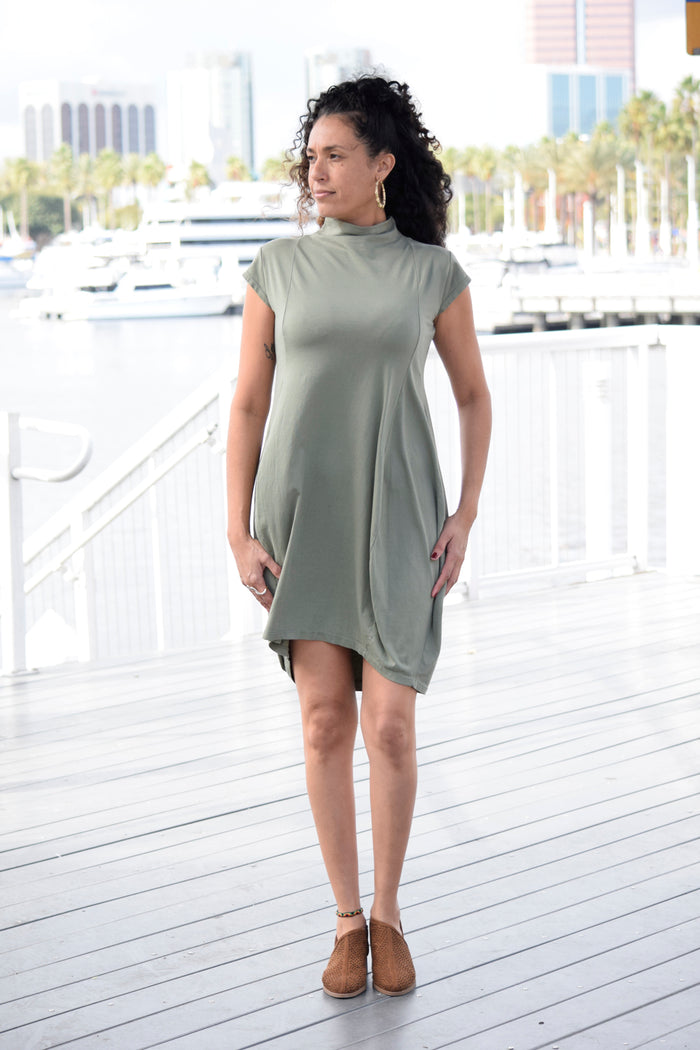 Faux Turtle-Neck Dress
