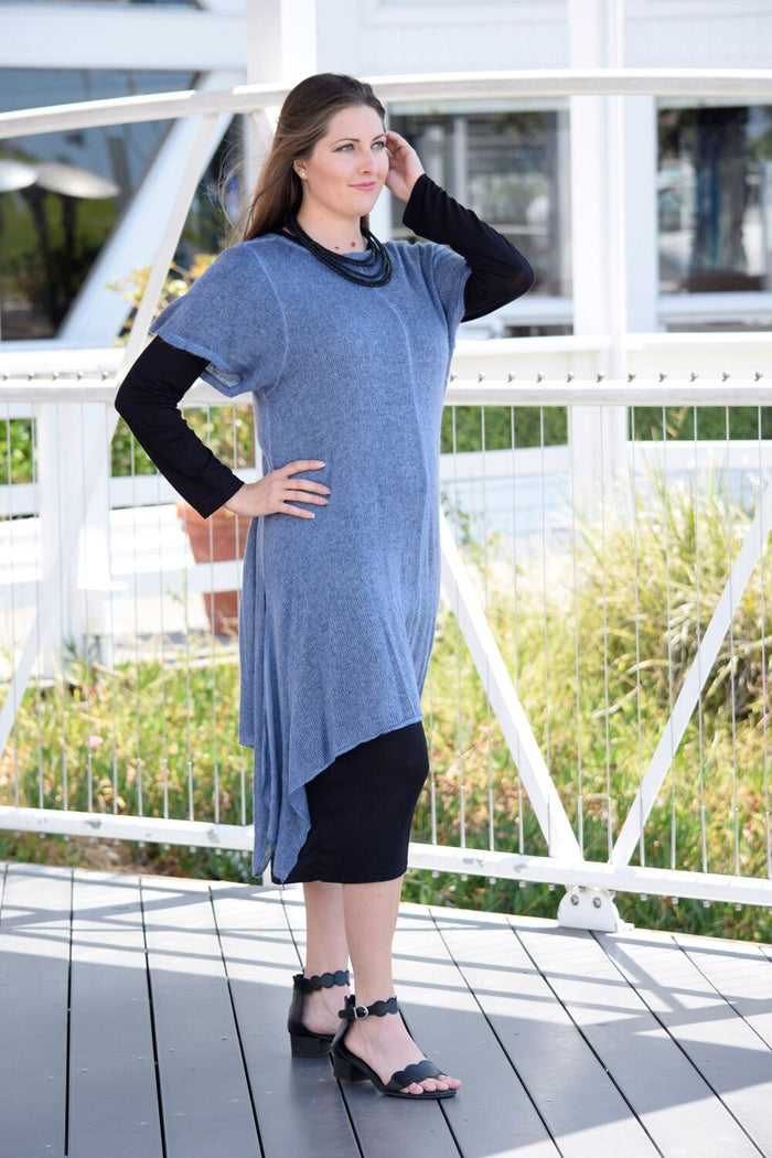 Knit & Cotton Two Piece Dress - Saga Clothing