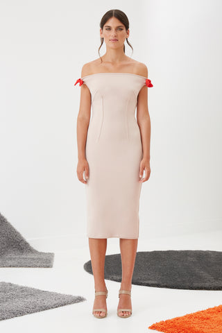 BY JOHNNY BARE SHOULDER TIE DRESS