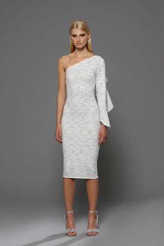 BY JOHNNY FRILL SLEEVE ASYMMETRIC DRESS