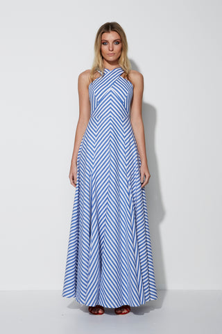 MOSSMAN A DAY IN THE NAVY MAXI DRESS