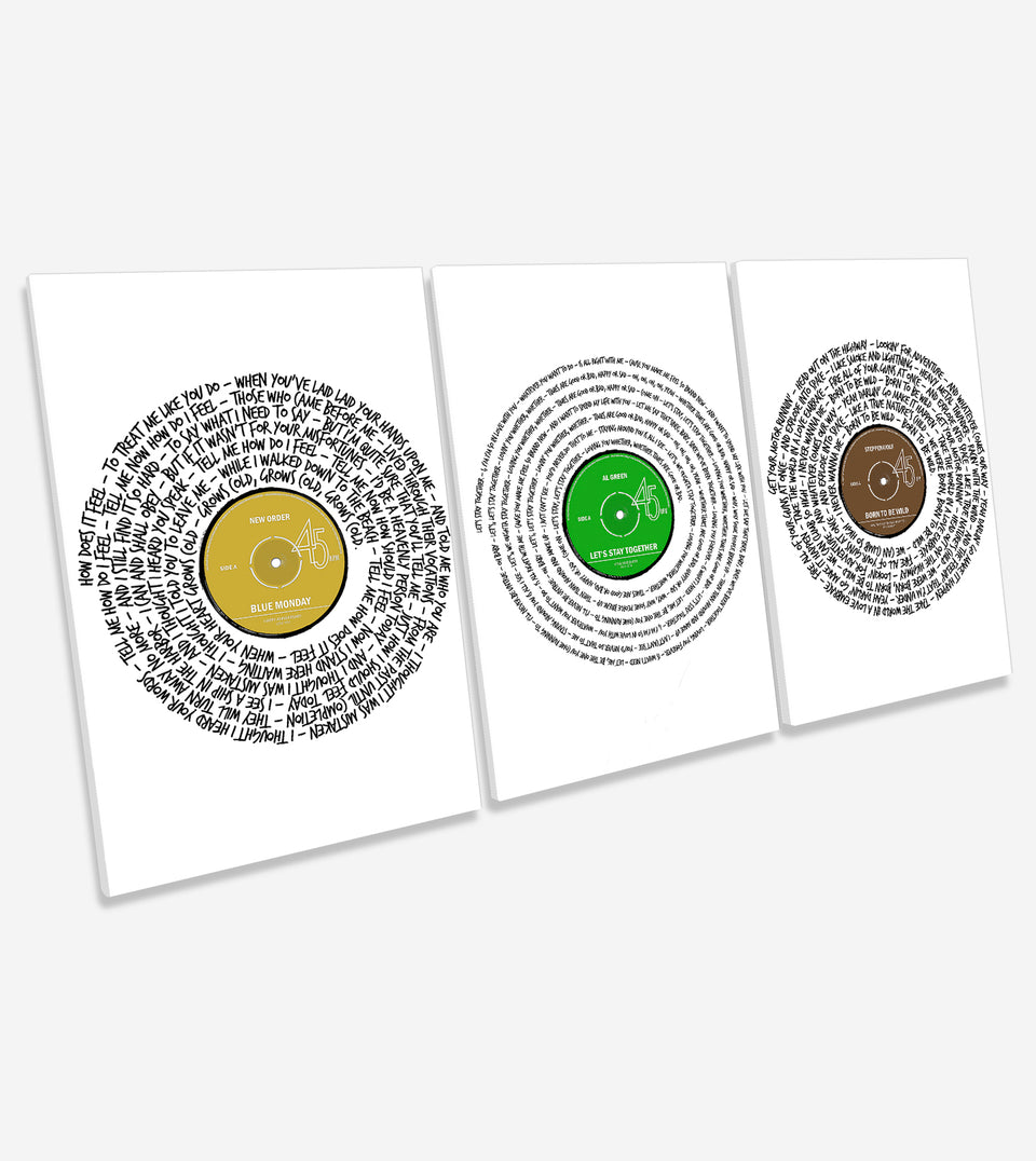 Set of 3 Custom Song Lyrics Canvases, Portrait Song Lyrics Meet Canvas Wall Art - NoisyPrints