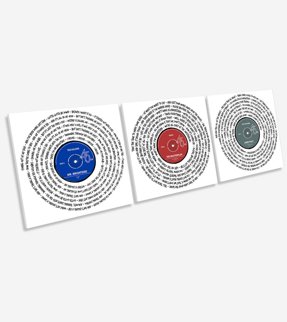 Set of 3 Custom Song Lyrics Canvases, Square Song Lyrics Meet Canvas Wall Art - NoisyPrints