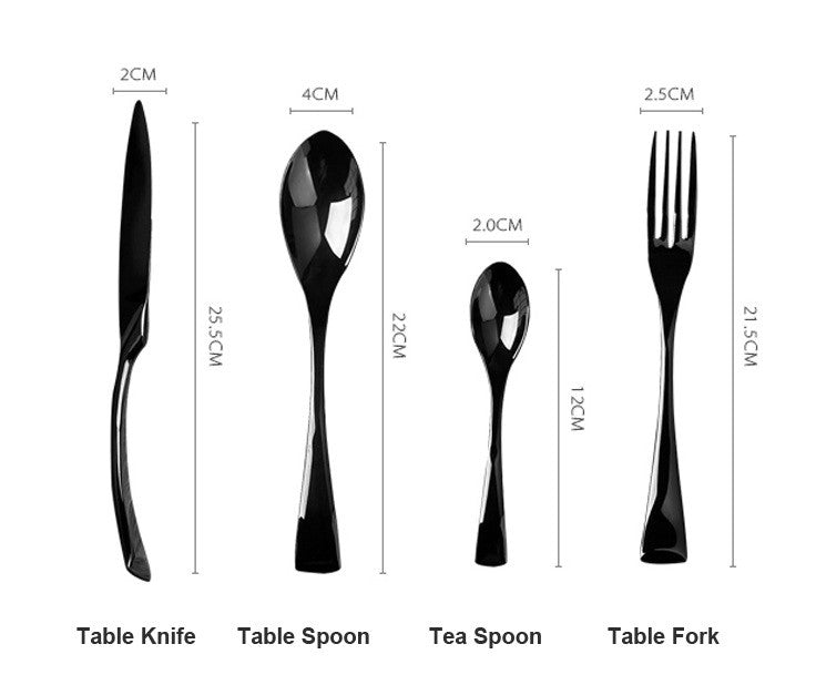 Jet Black Cutlery Dinnerset measurements