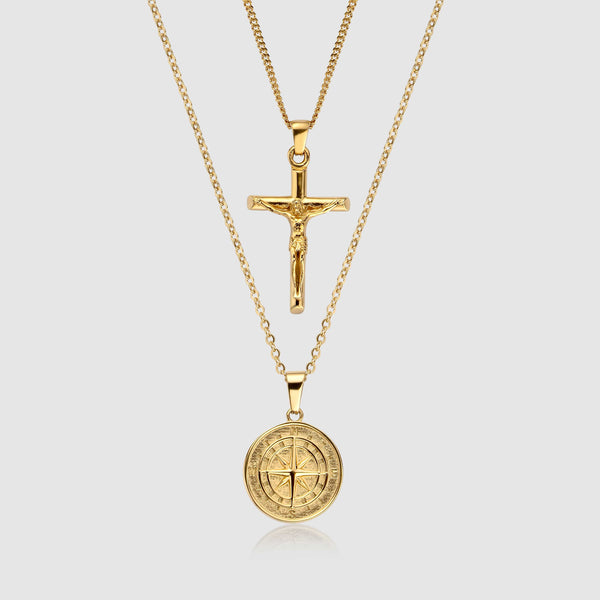Compass x Crucifix Set (Gold)