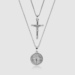 Compass x Crucifix Set (Silver)