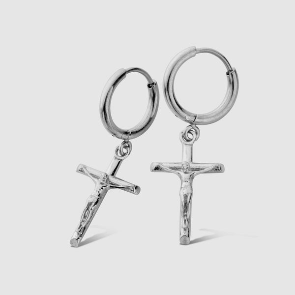 Crucifix Earring (Silver)