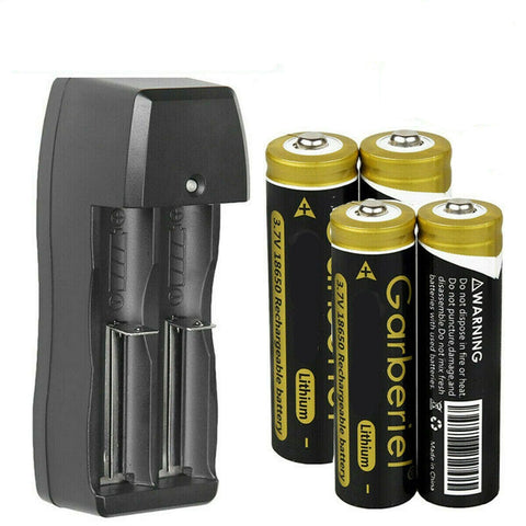 4x 18650 Battery 3.7v Li-ion Rechargeable Batteries + Charger