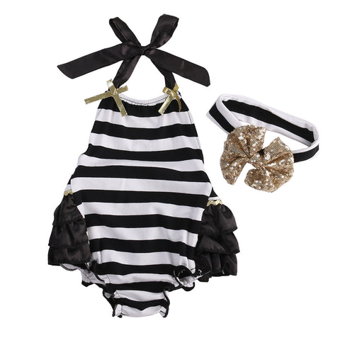 Stripe Jumpsuit & Cute Sparkling Headband (6-24M)