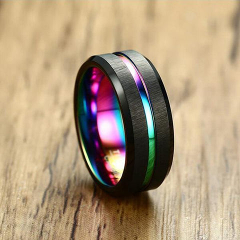 Rainbow Carbon Fiber Tungsten Ring