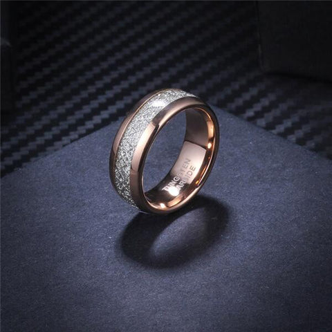 Rose Gold Meteorite Inlay Ring
