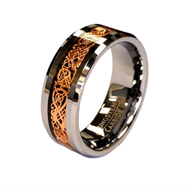 Rose Gold Celtic Tungsten Ring