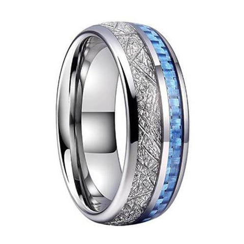 Blue Inlay Meteorite Ring
