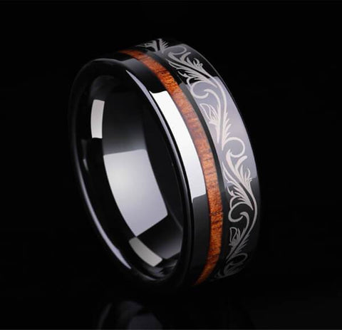 Tribal Black Tungsten Carbide Koa Wood Stripe Inlay Ring