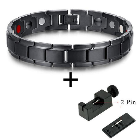 Elegant All-Black Bio-Energy Magnetic Therapy Bracelet G4 Series For Men (SBRM009F)