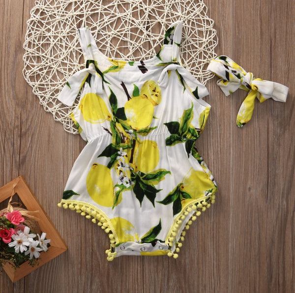 Lemon Flora Baby Girl Romper & Headband Set