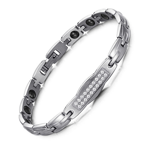 Fashionable Bio-Energy Magnetic Therapy Bracelet with Zircon Crystal For Women (SBRM053)