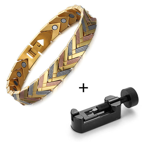 Fashionable 3-Tone Gold Color Bio-Energy Magnetic Therapy Bracelet For Women (SBRM066)