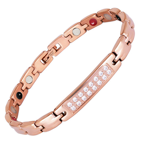 Fashionable Rose Gold Bio-Energy Magnetic Therapy Bracelet with Zircon Crystal For Women (SBRM054)