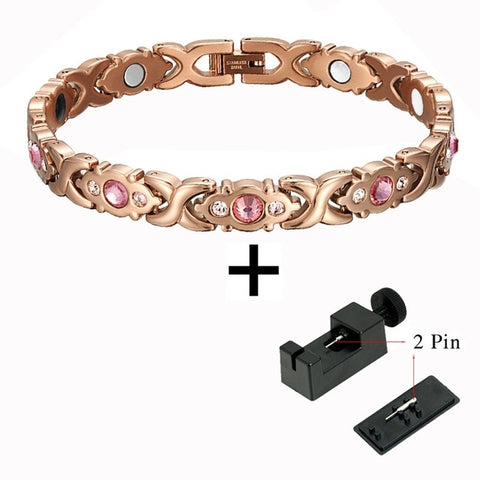 Rose Gold Fashionable Magnetic and Germanium Therapy Bracelet for Women (SBRM074RG)