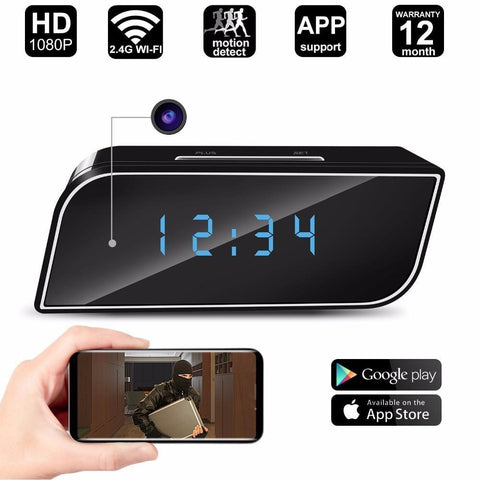 Bedside Alarm Clock with Video Camera Night Vision and Motion Detection
